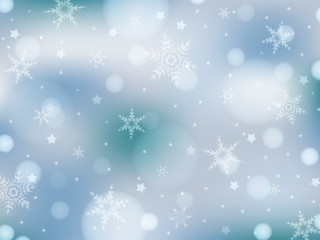 Light blue background with snowflakes, stars and lights. Abstract winter background in light blue and white colors for banner, poster, postcard, wallpaper. Suitable for New Year and Christmas. EPS 10