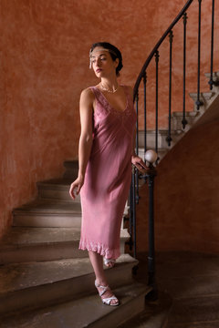 Lady in flapper dress on staircase