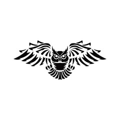Owl logo- vector illustrations. Emblem design on black background. - inspiration bird Vector