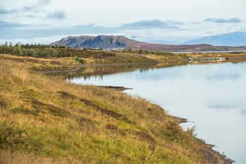 Beautiful scenic landscape on lake in Iceland