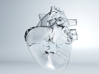 Heart broken glass, ice crack heart, frozen heart, human heart real glass, concept 3d render