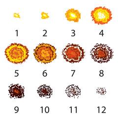 Pixel explosion frames set. Vector.