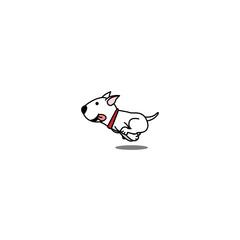 Cute bull terrier dog running, vector illustration