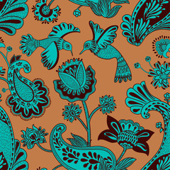 Foto op Canvas Botanisch Vector seamless pattern, decorative indian style. Stylized flowers and birds on the red background. Colorful cartoon illustration. Design for textile, fabric, postcard, cover, print, gift paper
