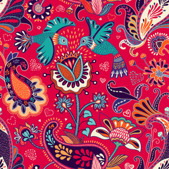 Foto op Aluminium Botanisch Vector seamless pattern, decorative indian style. Stylized flowers and birds on the red background. Colorful cartoon illustration. Design for textile, fabric, postcard, cover, print, gift paper