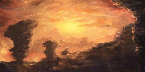 Idyllic and dramatic environment scenery - Digital Paintin
