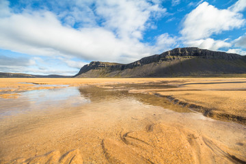 Wide Raudisandur beach landscape with sand, Iceland