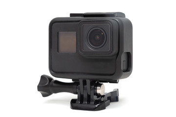 New 4K action camera in black color. Isolated white background