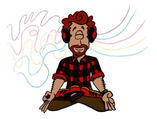 man meditating in lotus position listening to music - Mark