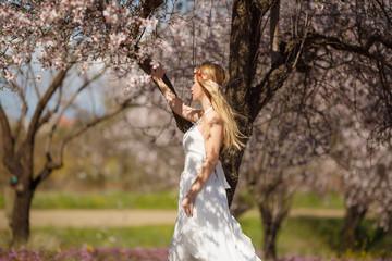 Romantic blonde woman