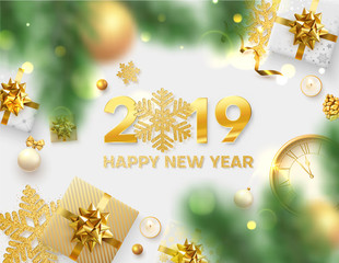 Happy New Year 2019 card with gold snowflakes, clock, gifts and blurred fir branches.