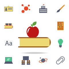 apple and book colored icon. Detailed set of colored education icons. Premium graphic design. One of the collection icons for websites, web design, mobile app