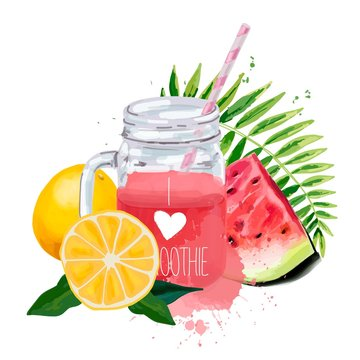 I love smoothie. Smoothie jar with tropical leaf, watermelon and oranges.