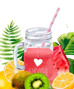 Smoothie jar with tropical leaf, watermelon, kiwi and oranges.