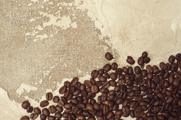 Coffee beans on top view background