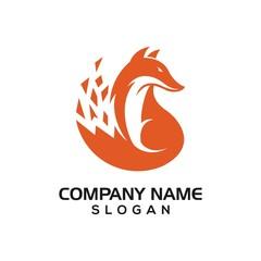 Fox design for technology logo icon template
