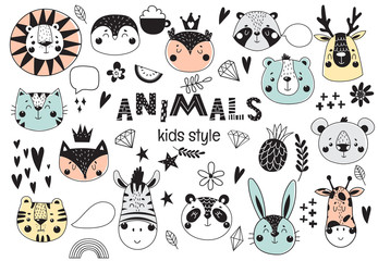 Collection of cute kids animals with funny decorative elements. Scandinavian style. Vector illustration