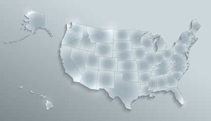 USA map with Alaska and Hawaii  map separate states individual blank glass card 3D raster