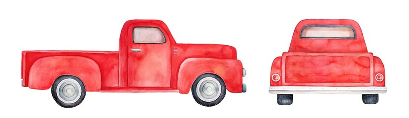 Water color drawing of empty pick-up truck. Set of various views: back and side. Classic style, bright red colour. Handdrawn watercolour sketchy illustration on white background, cut out clipart.