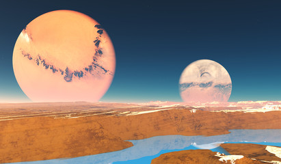 Distant Origins Planet - Beautiful blue methane rivers flow on this alien planet with two moons.