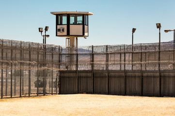 Empty Prison Yard with guard tower