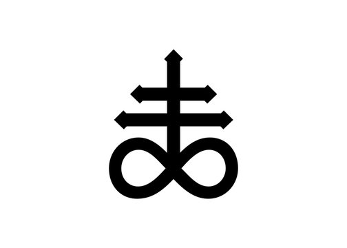 Leviathan Cross alchemical symbol for sulphur, associated with the fire and brimstone of Hell. Black and white isolated vector illustration. Blackwork, flash tattoo or print design