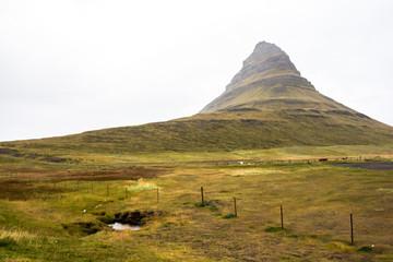 Kirkjufell mountain on rainy day, Snaefellsnes, Iceland