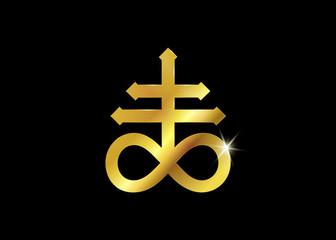Gold Leviathan Cross alchemical symbol for sulphur, associated with the fire and brimstone of Hell. Vector illustration Golden mystic symbol isolated or black background