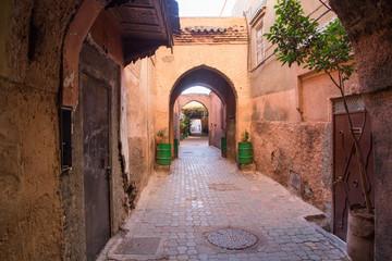 North Africa, Morocco,Marrakech. Arched medina cobblestone alley.