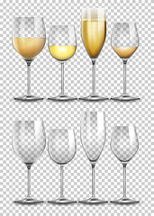 Set of wine glass on transparent background