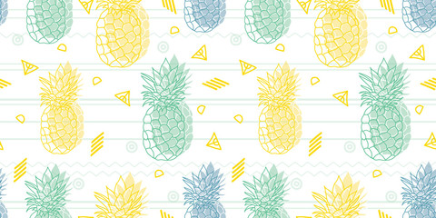 Geometric fun pineapples vector pattern background. Great as a summer textile print, party invitation or packaging. Surface pattern design.
