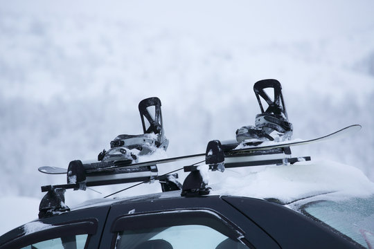 Car with ski rack on top