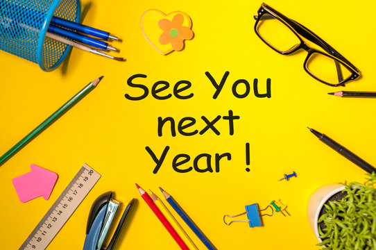 See you next year - memo at yellow office table. 2019 new year coming