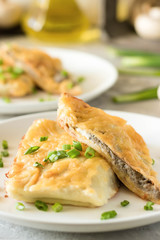 Béchamel baked pancakes stuffed with mushrooms