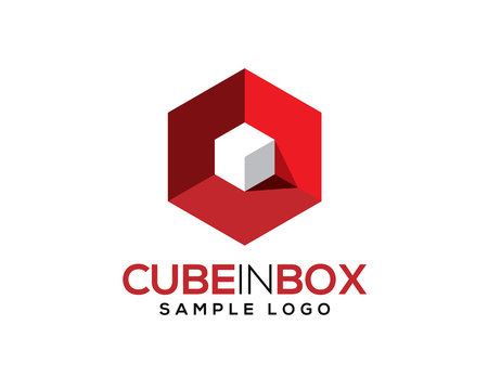 white 3D 3 Dimensional cube inside red hexagon box with light and shadow