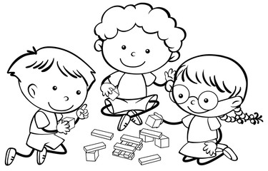 Doodle children playing character
