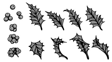 Set of holly leaf silhouette lace on white background.Black and white sticker vector by hand drawing