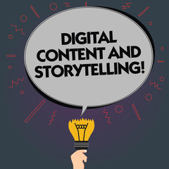Word writing text Digital Content And Storytelling. Business concept for Marketing advertising optimization strategy Blank Oval Color Speech Bubble Above a Broken Bulb with Failed Idea icon