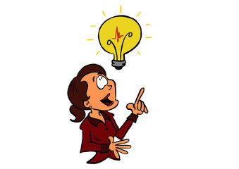 business woman with an idea light bulb Sophie