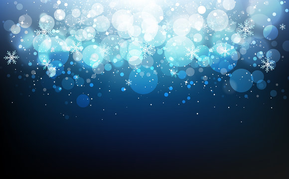 Winter celebration festival with stars blue concept, snowflakes confetti falling, dust, glowing blur scatter blinking Bokeh holiday season abstract background vector illustration