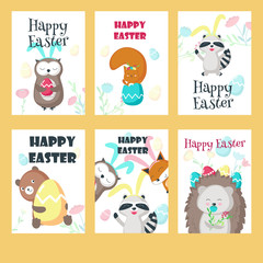 Vector set of greeting cards with Easter animals