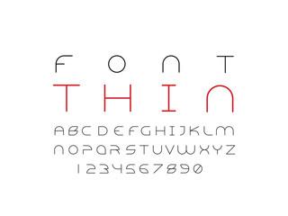 Thin font. Vector alphabet