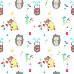 Vector seamless pattern with cute Easter animals