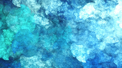 Abstract surreal blue clouds. Expressive brush strokes. Fractal background. 3d rendering.