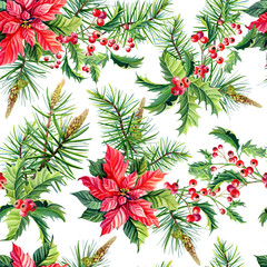 Christmas watercolor seamless pattern.Red poinsettia flowers,Holly, leaves,