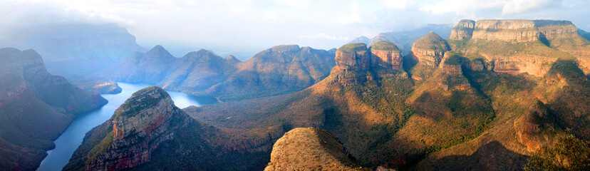 Fotobehang Afrika Blyde River Canyon blue lake, Three Rondavels and God's Window, Drakensberg Mountains national park panorana on beautiful sunset light background, top view, South Africa, Mpumalanga Province