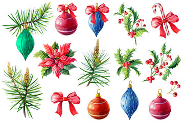 Watercolor set with winter elements for the New year. Colorful Christmas balls, pine, poinsettia, Holly, bow, striped candy