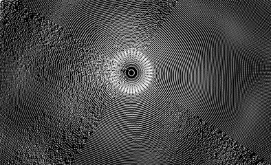 Abstract circular background with dynamic dots. Radial structure for science or technology.  Network illustration with particle. 3D grid surface.