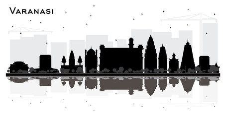 Varanasi India City Skyline Silhouette with Black Buildings and Reflections Isolated on White.