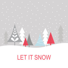 let it snow greeting card with christmas tree design